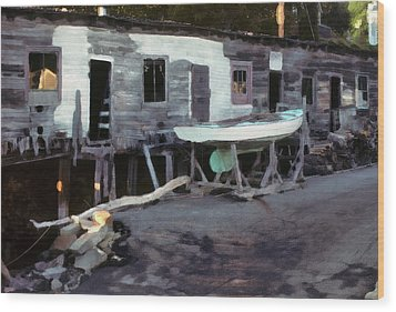 Wood Print featuring the photograph Bygone Boatyard by Carol Kinkead