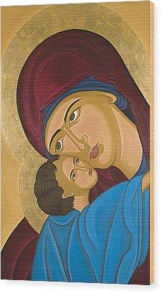 Byzantine Art Mother Love Wood Print by Marinella Owens