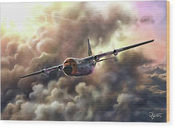 Wood Print featuring the painting C-130 Hercules by Dave Luebbert