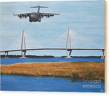 C-17 And Ravenel Bridge Wood Print by Holly York