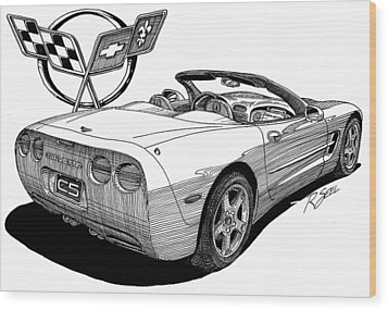 Wood Print featuring the drawing C-5 Corvette Convertible by Rod Seel