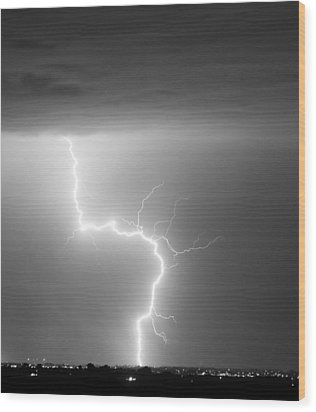 C2g Lightning Strike In Black And White Wood Print by James BO  Insogna