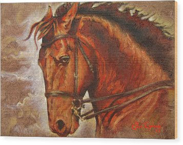 Caballo I Wood Print by J- J- Espinoza
