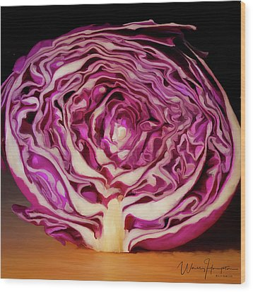 Cabbage 01 Wood Print by Wally Hampton