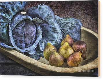 Cabbage And Figs Wood Print by Sari Sauls