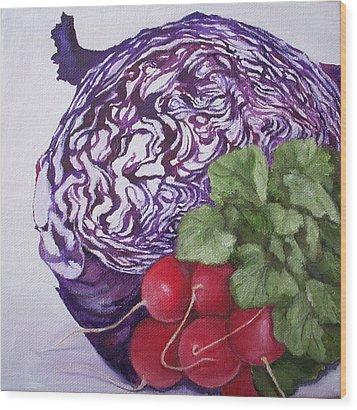 Cabbage Maze Wood Print