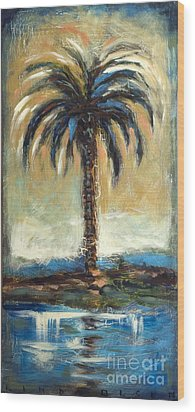 Wood Print featuring the painting Cabbage Palm Antiqued by Linda Olsen