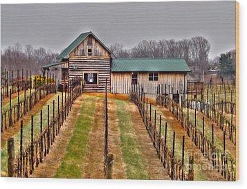 Cabin At Autumn Creek Vineyard Wood Print by Christy Ricafrente