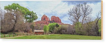 Wood Print featuring the photograph Cabin At Cathedral Rock Panorama by James Eddy