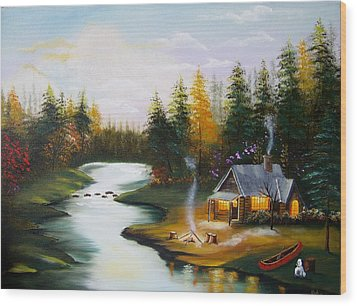Cabin By The River Wood Print