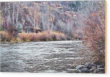 Cabin By The River In Steamboat,co Wood Print by James Steele
