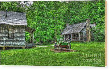 Wood Print featuring the photograph Cabin Fever Great Smoky Mountains Art by Reid Callaway