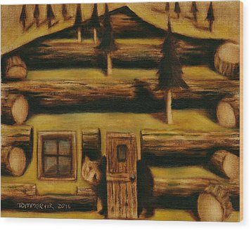 Wood Print featuring the painting Cabin Fever Grizzly Bear Art Print by Tommervik
