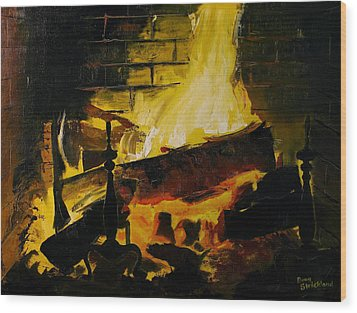 Cabin Fireplace Wood Print by Doug Strickland