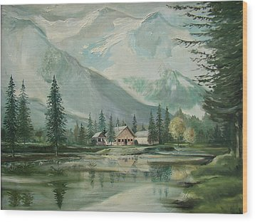 Cabin In The Valley Wood Print by Charles Roy Smith