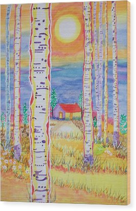 Cabin In The Woods Wood Print by Connie Valasco