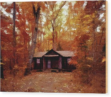 Wood Print featuring the painting Cabin In The Woods P D P by David Dehner