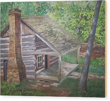 Cabin In The Woods Wood Print by Ron Bowles