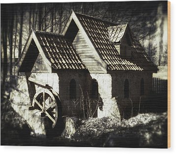 Cabin In The Woods Wood Print by Wim Lanclus
