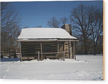 Cabin In Winter Wood Print by Gregory Jeffries