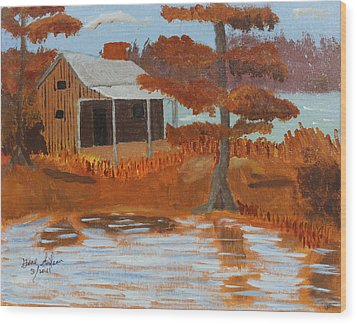 Cabin On Lake Wood Print by Swabby Soileau