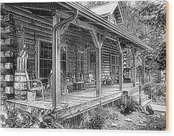 Cabin On The Hill Wood Print by Tom Mc Nemar