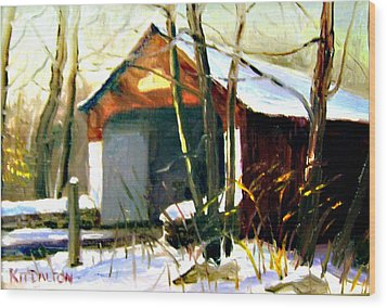 Cabin Run Covered Bridge Wood Print by Kit Dalton
