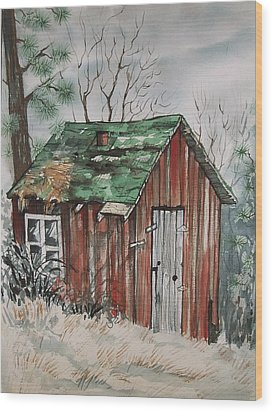 Cabin Shack Wood Print