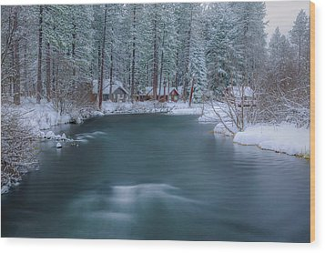 Wood Print featuring the photograph Cabins On The Metolius by Cat Connor