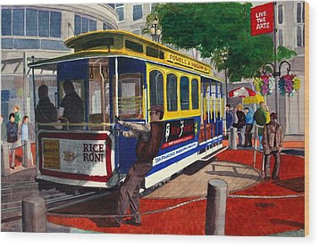 Cable Car Turntable At Powell And Market Sts. Wood Print