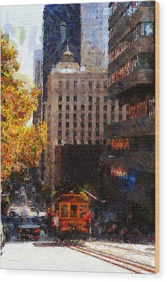 Cablecar On San Francisco California Street  . Painterly . 7d7176 Wood Print by Wingsdomain Art and Photography