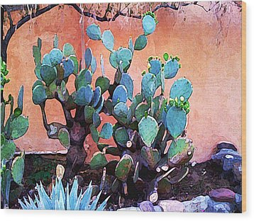 Cactus And Adobe Wood Print by Charlie Spear
