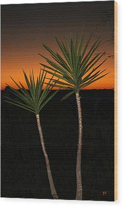 Cactus At Sunset Wood Print by Julie Reyes
