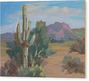 Wood Print featuring the painting Cactus By The Red Mountains by Diane McClary