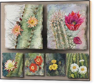 Wood Print featuring the painting Cactus Collage 10 by Marilyn Smith