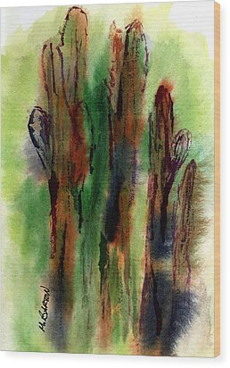 Cactus Coolers Wood Print by Marilyn Barton