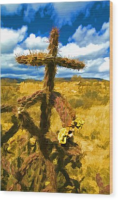 Cactus Cross Wood Print by Lou  Novick