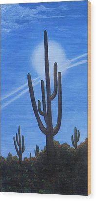 Wood Print featuring the painting Cactus Halo by Judy Filarecki