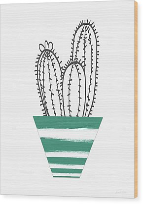 Wood Print featuring the mixed media Cactus In A Green Pot- Art By Linda Woods by Linda Woods
