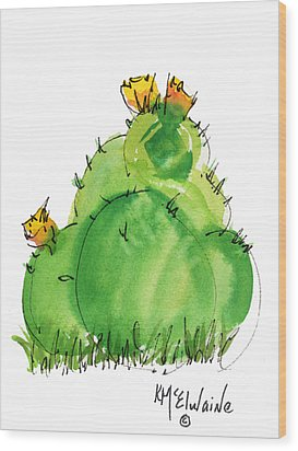Cactus In The Yellow Flower Watercolor Painting By Kmcelwaine Wood Print