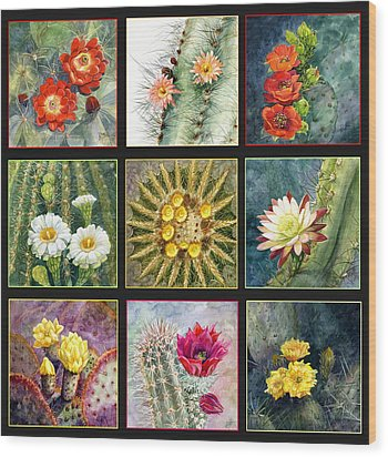 Wood Print featuring the painting Cactus Series by Marilyn Smith