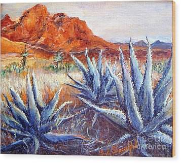 Cactus View Wood Print by Linda Shackelford
