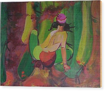 Cactus Woman Wood Print by Georgia Annwell