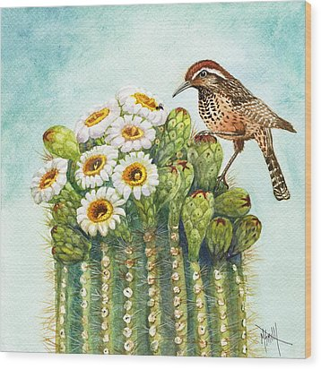 Wood Print featuring the painting Cactus Wren And Saguaro by Marilyn Smith