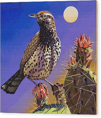 Wood Print featuring the painting Cactus Wren by Bob Coonts