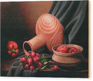 Caddo Jar - Red Study Wood Print by Timothy Jones