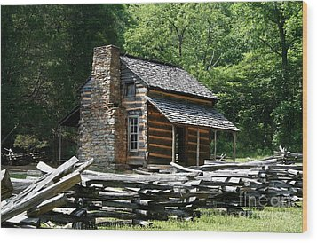 Wood Print featuring the photograph Cade's Cove Cabin by John Black