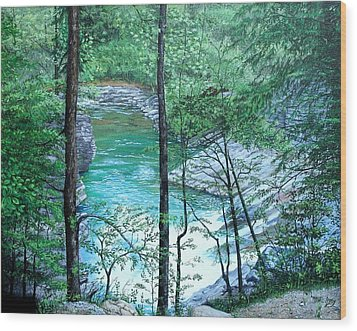 Wood Print featuring the painting Cades Cove by Mike Ivey