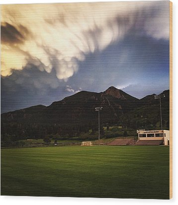 Cadet Soccer Stadium Wood Print by Christin Brodie