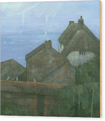 Cadgwith Rooftops Wood Print by Steve Mitchell